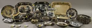 Forty Pieces of Mostly English Flow Mulberry Transferdecorated Ironstone Tableware