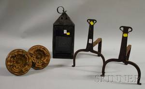 Pair of Large Pressed Brass Curtain Tiebacks a Blackpainted Punchdecorated Tin Candle Lantern and a Pair of Wrought Iron Andirons