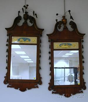 Pair of New York Federalstyle Carved Giltwood and Inlaid Mahogany Mirrors with Eglomise Glass Tablets Depicting a Country and a Sailin
