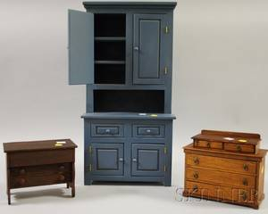 Childs Bluepainted Wooden Stepback Cupboard and Two Wooden Toy Bureaus