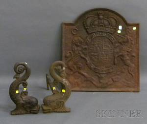 Williamsburg Restoration Cast Iron Relief George II Crest Fireback and a Pair of Cast Iron Dolphin Andirons