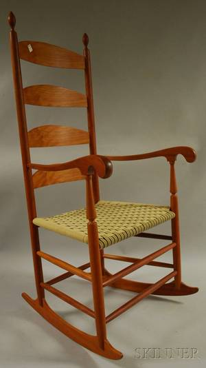 Reproduction Shaker Cherry Slatback Armrocker with Woven Tape Seat