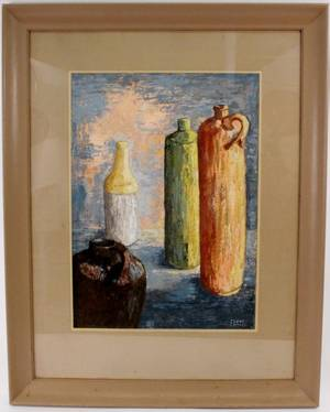 Clyde Connell Still Life with Bottles Oil Painting