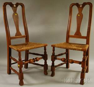 Pair of Queen Annestyle Carved Maple Side Chairs with Spanish Feet