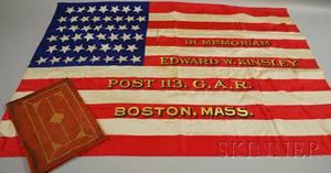 Leathercased Printed and Painted Silk GAR Memorial American Flag