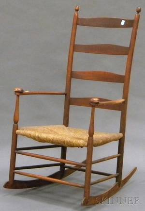 Shaker Production No 6 Red Stained Slatback Armrocker with Woven Rush Seat