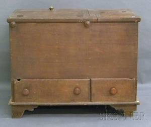 Brownstained Poplar Blanket Chest over Two Drawers