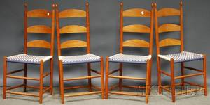 Set of Four Shakerstyle Slatback Side Chairs