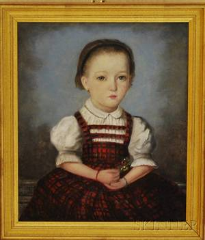 American School 19th Century Portrait of a Girl in a Red Plaid Dress Holding a Flower Sprig