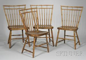 Set of Four Windsor Birdcage Side Chairs with Bamboo Turnings