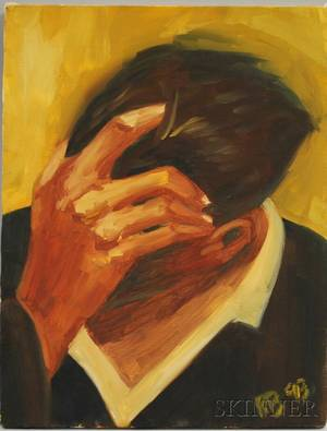 20th Century American School Oil on Canvas Portrait of a Man Holding His Hand to His Brow