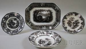 Three Staffordshire Mulberry Transferdecorated Ironstone Plates and a Platter