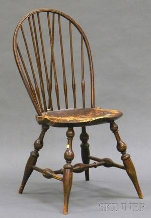 Wallace Nutting Stained Windsor Braced Bowback Side Chair