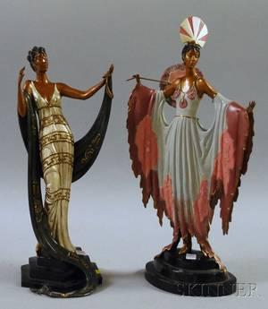 Two Art Decostyle Painted Cast Bronze Figural Sculptures