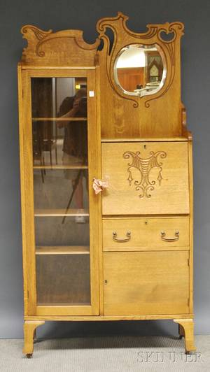 Late Victorian Larkintype Carved Oak and Mirrored Writing DeskBookcase