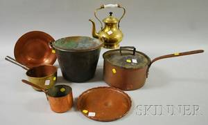 Seven Brass and Copper Cooking and Table Items