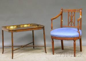 Regencystyle Upholstered Mahogany Armchair and a Giltdecorated Painted Tole Tray on Mahogany Stand
