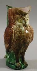 Majolica Owlform Pitcher