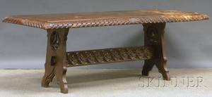 Carved Walnut Refectory Table Top with a Gothic Revival Carved Oak Table Base