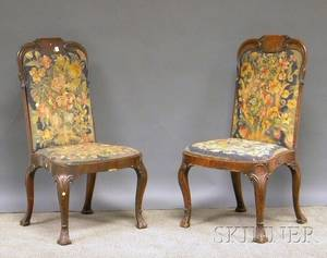 Pair of Queen Anne Carved Walnut and Petit Point Upholstered Side Chairs