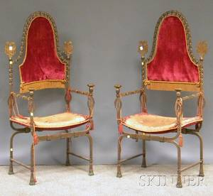 Pair of Italian Baroquestyle Wrought Iron and Brass Armchairs
