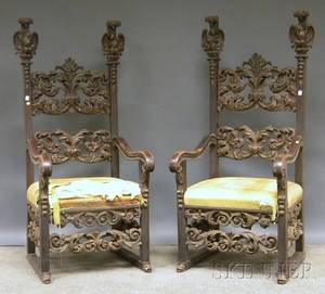 Pair of Italian Baroquestyle Painted Carved Wood Throne Chairs with Upholstered Seats