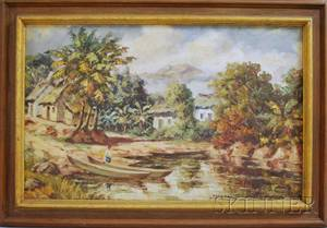 Latin American School 20th Century Tropical Landscape with River