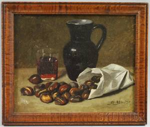 Spanish School Late 19th Century Still Life with Jug and Chestnuts