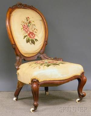Victorian Ladys Rococo Revival Needlepoint Upholstered Carved Walnut Parlor Chair