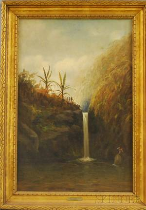 American School 20th Century Tropical Landscape with Figures and Waterfall