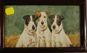Paul Mahler American 20th Century Portrait of Three Fox Terriers