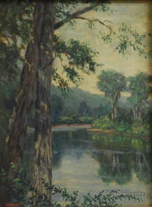 American School 20th Century Summer Landscape with Stream