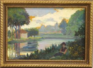 French School 20th Century Landscape with Female Figure