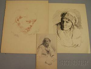 James Wells Champney American 18431903 Lot of Three Works on Paper