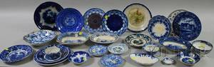 Twentyfive Pieces of Assorted English Blue and White Transferdecorated Staffordshire Tableware