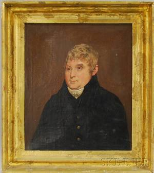 Early 19th Centurystyle Oil on Canvas Portrait of a Gentleman