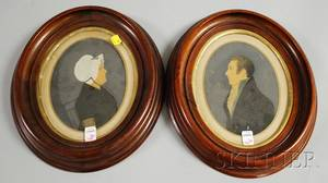 Pair of Oval Walnutframed Late 19th Century American School Watercolor and Gouache Portraits of a Gentleman and a Woman