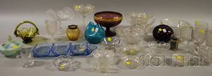 Twentytwo Colorless and Eight Colored Glass Tableware Items