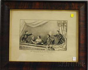 Framed Currier  Ives Lithograph The Assassination of President Lincoln