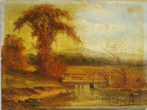American School 19th Century Fall Landscape with Bridge