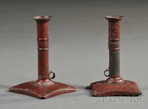 Pair of Miniature Redpainted Pushup Tin Candlesticks