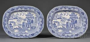 Pair of Blue and White Staffordshire Blue Willow Pattern Platters