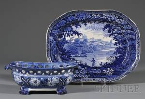 Scenic Blue Transferdecorated Staffordshire Platter and Reticulated Footed Bowl