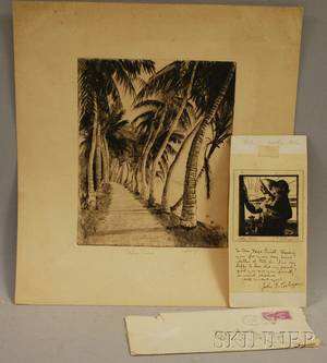 Lot of Two Etchings Anthony Thieme American 18881954 Palm Trees