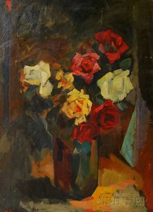 American School 20th Century Still Life With Roses