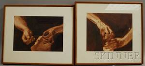 American School 20th Century Lot of Two Studies of Hands