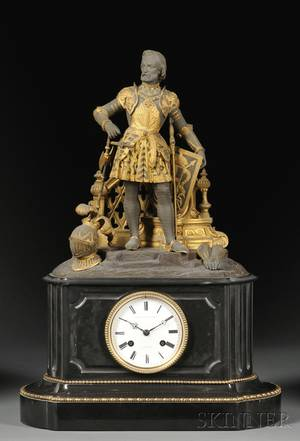 French Mantel Clock Depicting Sir Walter Raleigh