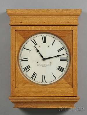 Self Winding Clock Company Oak Wall Clock