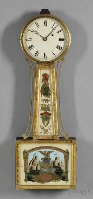 Patent Timepiece or Banjo Clock Attributed to Samuel Abbott