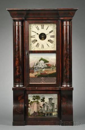 Birge Peck  Company Mahogany Sleigh Front Shelf Clock